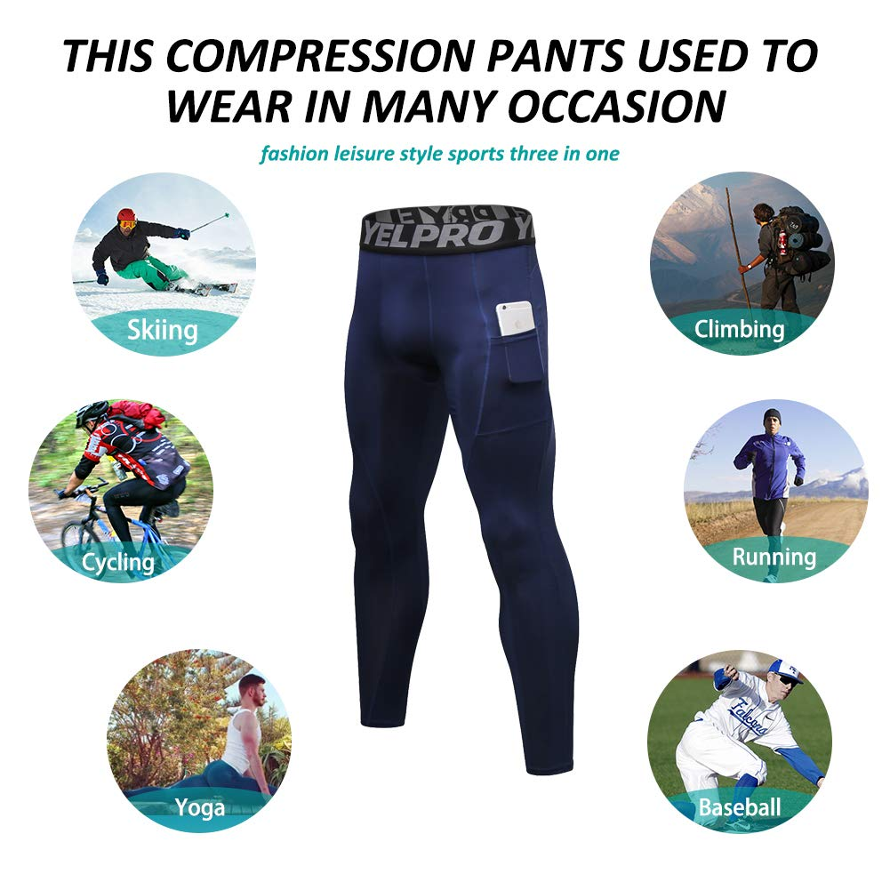 SILKWORLD Mens Compression Pants Pockets Cool Dry Sports Leggings Baselayer Running Tights