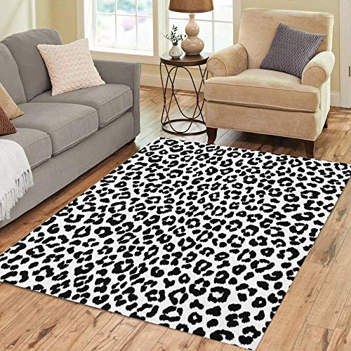 Pinbeam Area Rug Fur Black and White Leopard Irregular Spots Abstract Home Decor Floor Rug 5' x 7' Carpet (Leopard Rug)