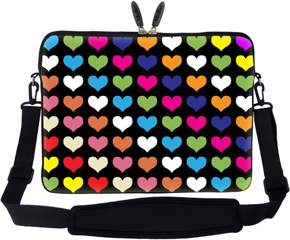 Meffort Inc 15 15.6 inch Neoprene Laptop Sleeve Bag Carrying Case with Hidden Handle and Adjustable Shoulder Strap - Colorful Hearts