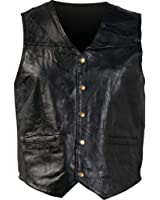 Giovanni Navarre Mosaic Leather Vest Black