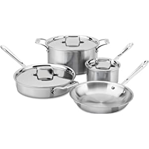 All-Clad BD005707-R D5 Brushed Dishwasher Safe Cookware Set