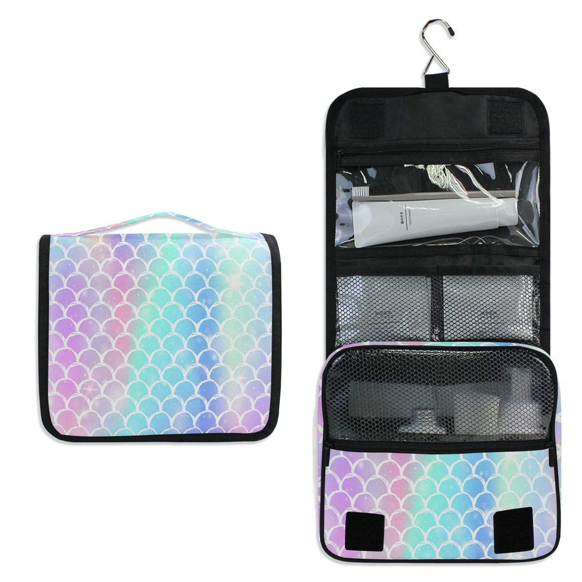 Mermaid Scale Rainbow Color Women Travel Cosmetic Bag Hanging Toiletry Wash bag Unicorn Galaxy Magic Fish Portable Makeup Organizer Brush Case Storage Bag with Hook for Bathroom Toilet
