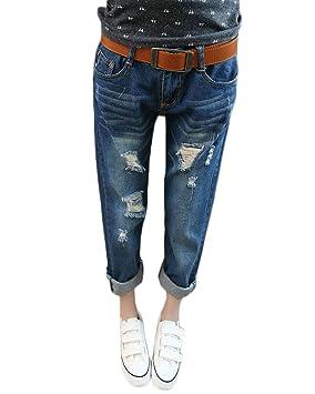 6971765ca01d3 Mujer Elásticos Skinny Jeans Cintura Baja Pantalones Push Up Boyfriend  Jeans Vaqueros del Agujero  Amazon.es  Deportes y aire libre
