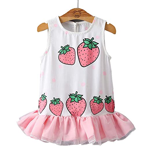 786e8baa1 Amazon.com: ✧Oufenli✧Newborn Infant Toddler Girl Sleeveless Romper  Strawberry Print Jumpsuit Bodysuit Mini Dress Summer Clothes Outfits:  Clothing
