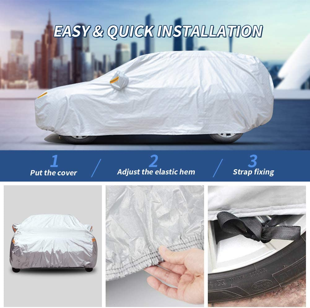 190-201 SUV Universal Fit for Sedan UV Protection Snowproof Waterproof Dustproof Full Car Covers with Zipper Cotton GES 6 Layers Car Cover Fit SUV//Jeep