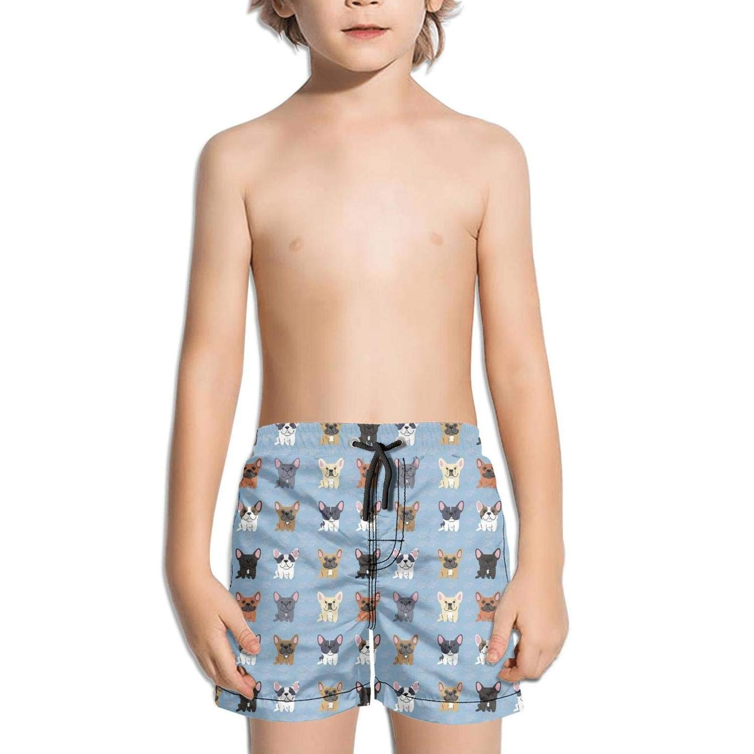 Boys Kids Lovely Pet French Bulldog Breed Quick Dry Beach Swim Trunk Solid Swimsuit Beach Shorts with Mesh Lining