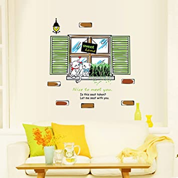 Englisch Buchstaben Fenster Katze Sweat Home grün lässt Wandtattoo ...