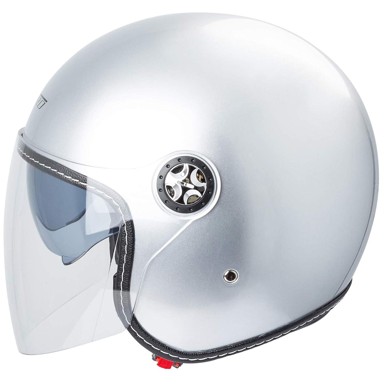 Casque Moto Jet City Retr/ò Homologu/é ECE 22-05 Double Visi/ère Scooter Fluo M