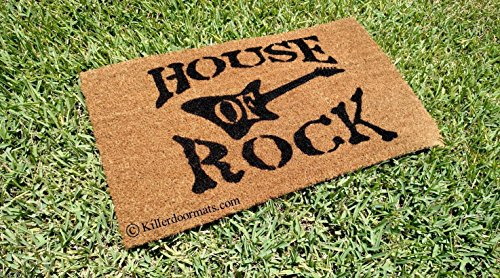 House of Rock with Guitar Coir Doormat, Size Large - Welcome Mat - Doormat - Custom Hand Painted Doormat by Killer Doormats