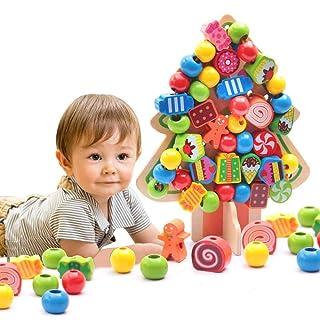 Stringing Beads Toys Infilare Giochi Animale Prima Infanzia Giocattoli Educativi Perline di Legno per Bambini