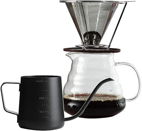 Cafeteras de Goteo Pour Over Coffee Maker/Brewer Set Drip Coffee Maker Set de Jarra Cafetera de Mano Juego de electrodomésticos Filtro de Acero Inoxidable Filtro de Goteo Taza 6 Estilos: Amazon.es: Hogar