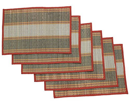 SouvNear Set of 6 Placemats for Dining / Kitchen / Beach - Reversible Mats Woven Straws and Threads – Natural Handmade Placemat Set from India ()