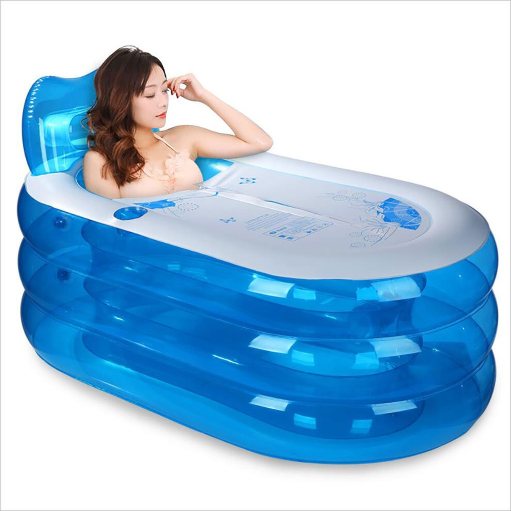LQQGXL,Bath Thickening inflatable bathtub adult bathtub folding bathtub bathtub plastic children's bathtub bathtub Inflatable bathtub ( Color : Blue transparent , Size : 1307070CM )