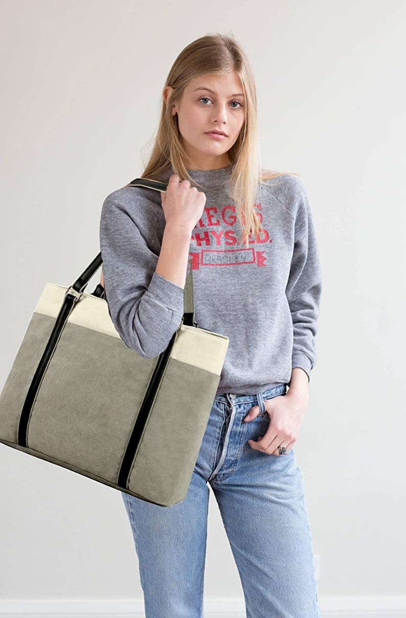 Women Laptop Tote Bag for Work Lightweight Splice Canvas 15.6 Inch Handbag Purse