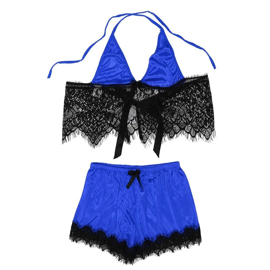 Pervobs Women Babydoll Set Lace Satin Bowknot Bra Sexy Lingerie Underpant Set Sleepwear(XL, Blue)