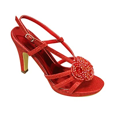 Top Moda Spin-63 Fashion beaded flower High Heel Stiletto platform wedding strappy slingback glitter sandals