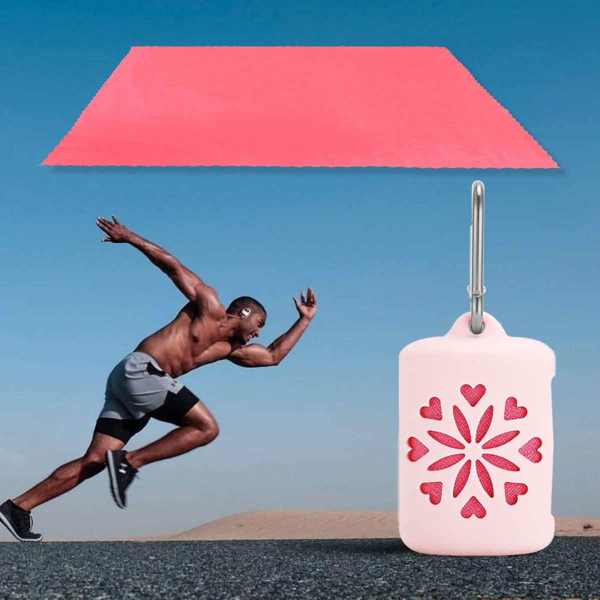 LIOOBO Gymnastik-Schwei/ßtuch schnell trocknend kompaktes Training Sportreisetuch f/ür Fitness Yoga Camping Wandern Schwimmen mit Etui