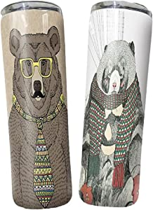 Personalized Name Bears Wear Towels And Glasses 20 Oz 30 Oz Skinny Tumblers with Lid Straw Gift for Father's Day, Travel Mug Vacuum Insulated Stainless Steel, Ice Drink, Hot Beverage