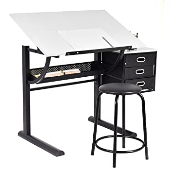 Tangkula drafting table with stool