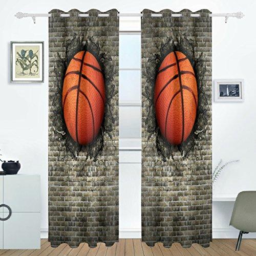 DEYYA Basketball Embedded In Brick Wall Curtains Drapes Panels Darkening Blackout Grommet Room Divider for Patio Window Sliding Glass Door 55x84 Inches,2 Panels by DEYYA