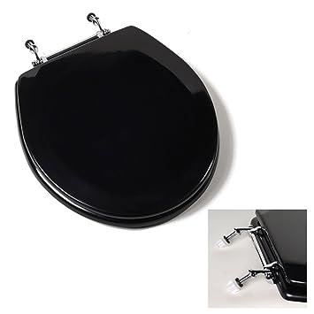 Deluxe Black Wood Round Toilet Seat Chrome Hinges Amazon Com