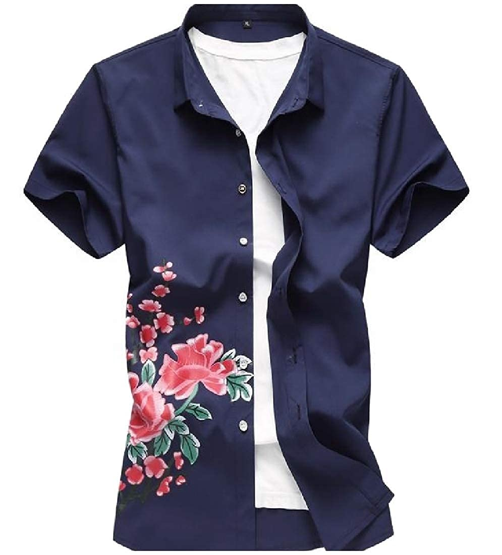 Abetteric Mens Printed Everyday Everyday Casual Style Dress Shirt Navy Blue 3XL