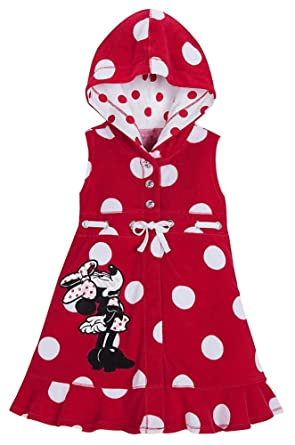 d0b2e5be17 Amazon.com: Disney Store Minnie Mouse Swimsuit Cover Up Size Medium 7/8: Red  Hooded Swimwear: Clothing