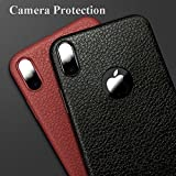 Loxxo® iPhone XR Cover Wireless Charging Support, Liquid Silicone Gel Rubber Shockproof Case Candy Phone Cases for Apple iPhone XR (Leather Texture Black)