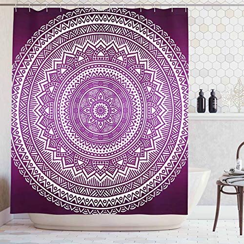 Ambesonne Purple Shower Curtain, Ombre Mandala Art Print Vibrant Floral Pattern Boho Hippie Inspired Design, Cloth Fabric Bathroom Decor Set with Hooks, 70