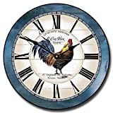 Carolina Blue Rooster Wall Clock, Available in 8 Sizes, Most Sizes Ship 2-3 Days, Whisper Quiet.