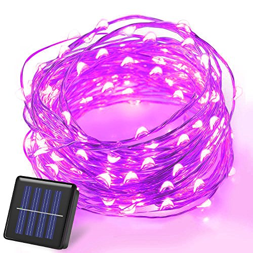 100 Blue Solar Powered Led Outdoor String Fairy Lights - 5