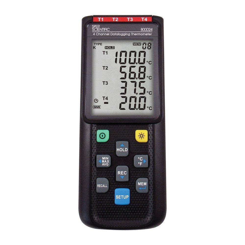 Sper Scientific 800024 Thermocouple Thermometer, 4 Channel Datalogging