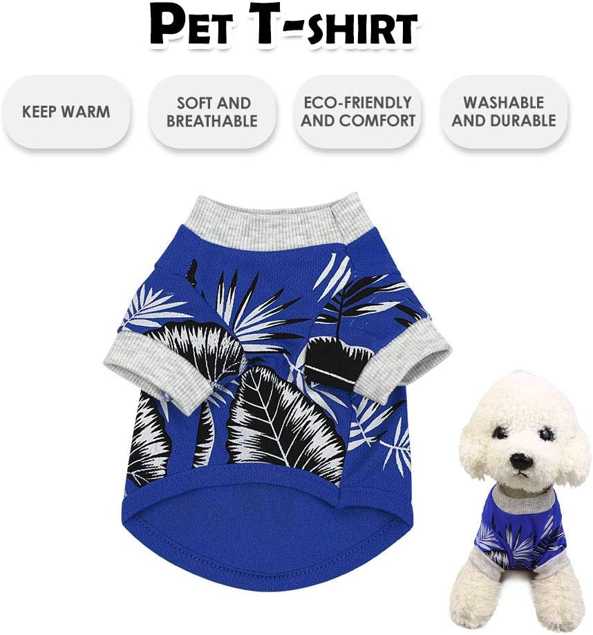 Decdeal Pet Shirt Hawaiian Dog T-Shirts Spring Autumn Breathable Dog Clothes Puppy Clothing