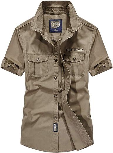 routinfly Camisa de Manga Corta para Hombre, Camisa de Manga Corta Militar Bordada de Color Liso para Hombre, Estilo Militar, Blusa con Bolsillo Cachi M: Amazon.es: Ropa y accesorios