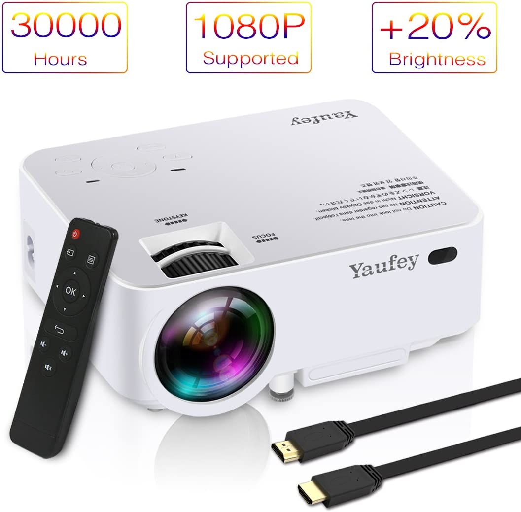 yaufey LCD Mini Proyector, 1080p HD Multimedia Home Theater ...