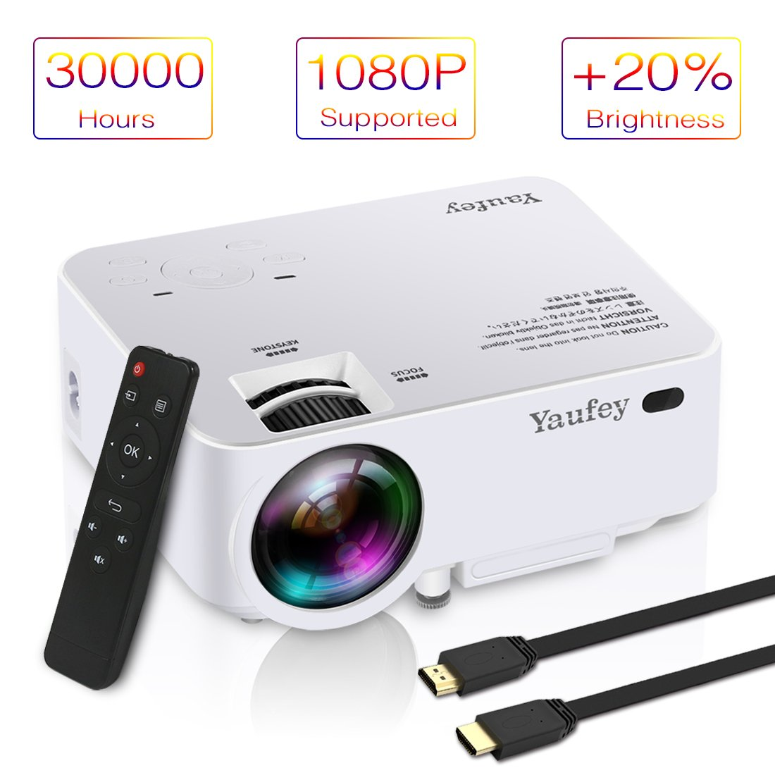 Laptop Projector, Yaufey Digital Video Projector Support 1080P for Home Cinema TV Laptop Game iPhone Android Smartphone with HDMI Cable (2018 Upgraded Version)