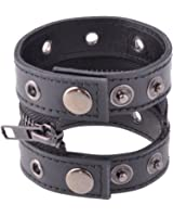Neewer® Men Women Punk Style Zipper Rivet Faux Leather Bracelet Belt Cuff, Black Color