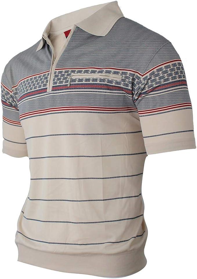 Soltice - Polo de manga corta para hombre, a rayas, camiseta con bolsillo en el pecho, camisetas de mezcla de algodón (M hasta XXXL): Amazon.es: Ropa y accesorios