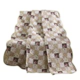 NEWLAKE Quilted Throw Blanket for Bed Couch Sofa, Antique Chic Style, 60X78 Inch
