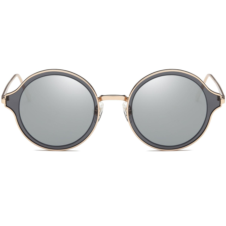 SojosS Gafas De Sol Mujer Hombre Polarizadas Doble Color Marco Metal Lentes Redondas SJ1058