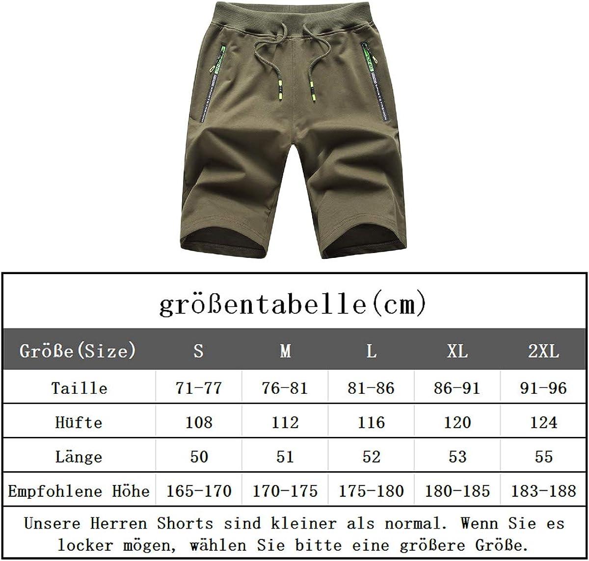 JustSun Kurze Hosen Herren Shorts Sommer Sport Baumwolle mit Rei/ßverschluss