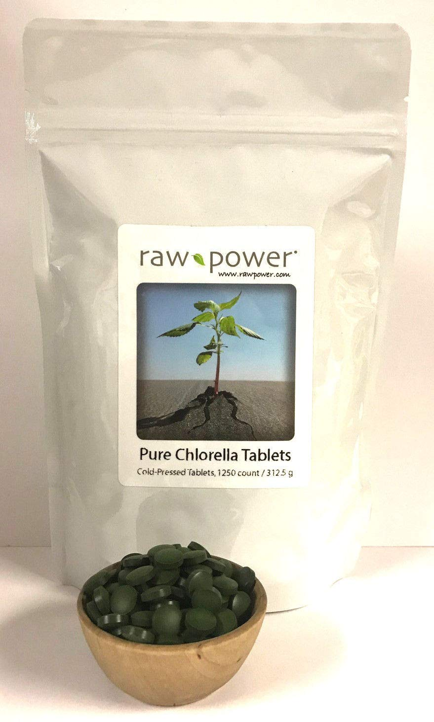 Chlorella Tablets 1250 Count, 312.5g , Cold-Pressed, Raw and Pure, from Raw Power Organics