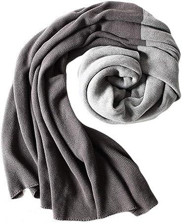 AQIALE Manta de algodón, Manta de Verano, Manta de sofá, Manta de tamaño Completo, Manta Gris, Manta Tejida, Manta Ligera, Manta de algodón, Manta Grande: Amazon.es: Hogar