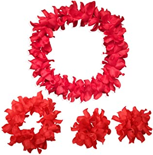 Arlai 4 Pcs set Hawaiian Leis Jumbo necklaces bracelets headband