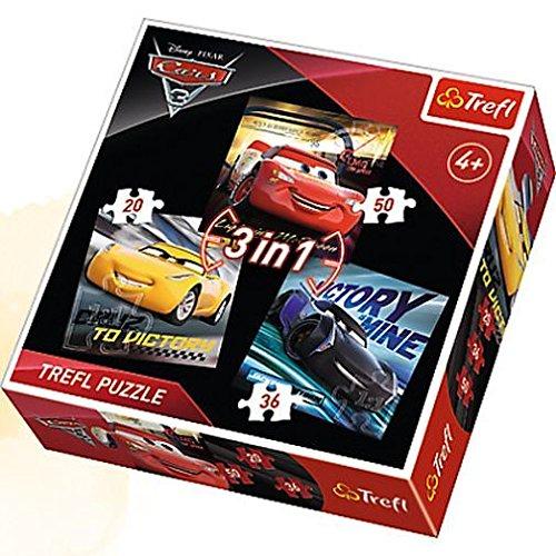 Trefl Cars Puzzle 3 en 1 3-20/36/50 Piè ces, 34820