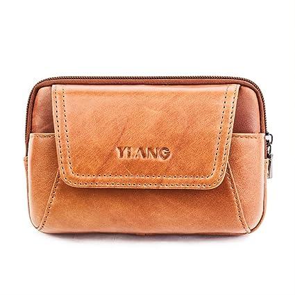 AOLVO Piel auténtica Bolsa de Cintura para Hombres Ajustable Casual cinturón Bolsa de Transporte de Tipo