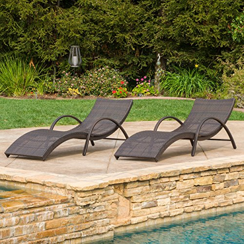 Great Deal Furniture (Set of 2) Maureen Outdoor Brown Wicker Folding Armed Chaise Lounge