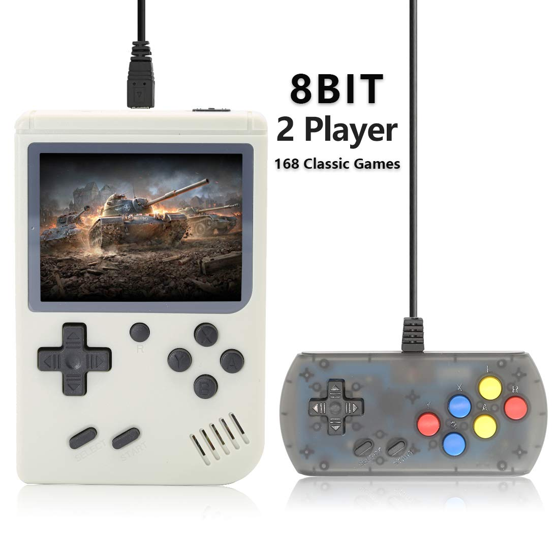 AKTOUGST Retro Handheld Game Console FC System 168 Classic Game Portable Video Game 3 Inch 2 Player Plus Extra Joystick Game Console Support on TV,Presend for Kid Adult, (White) by AKTOUGST (Image #1)