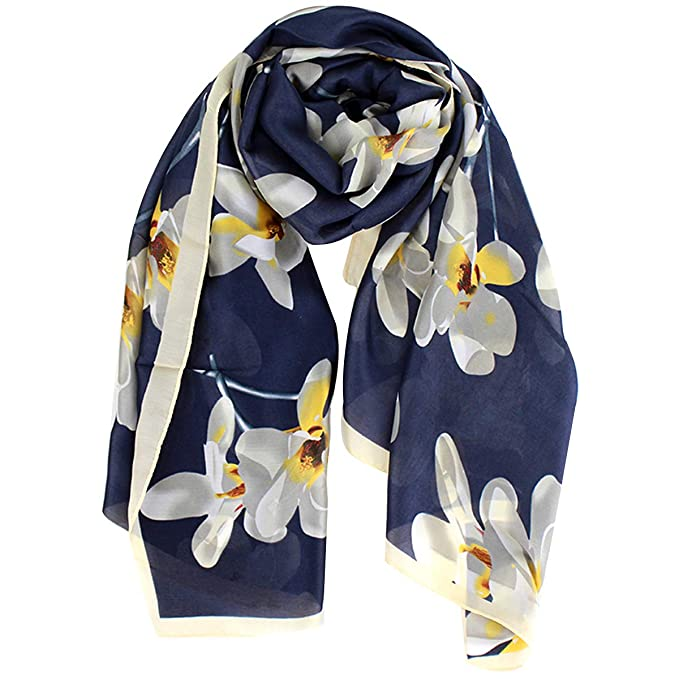 bf0f845e751 Heidi Floral Silk Chiffon Scarfs for Women Lightweight Long Printed  Sunscreen Scarves Spring Summer Wrap Shawl