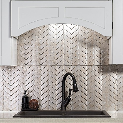 Fasade Easy Installation Chevron Brushed Nickel Decorative Vinyl Backsplash Panel for Kitchen and Bathrooms (18'' x 24'' Panel) by Fasade